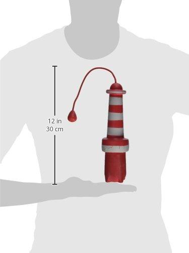 ROGZ LH02-C Lighthouse Dog Fetch Toy/schwimmendes Wurfspielzeug, rot/weiß