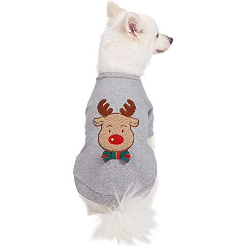 Hunde-Weihnachtspullover aus Sweat mit Rentier-Applikation