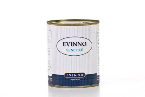 Evinno Sensitiv Ziegenfleisch 12 x 800 g Dose Single Protein Nassfutter Hundenahrung Schonkost für den sensiblen Hund oder auch bei Futtermittelunverträglichkeit