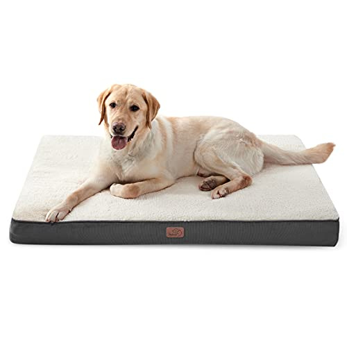 Bedsure orthopädisches Hundebett Grosse Hunde - 110x80x8 Hundekissen flauschig Hundematte waschbar Hundematratze in grau für große Hunde