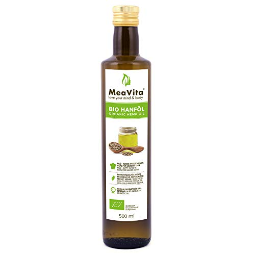 MeaVita Bio Hanföl, 100% rein & kaltgepresst, (1x 500ml) Hanfsamenöl hoher Anteil an Omega 3 & 6 Fettsäuren