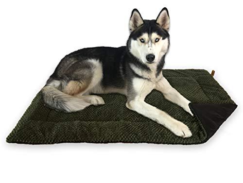 FLUFFINO® Hundedecke - Flauschig, Weich u. Waschbar (Größe L, grün)- erhöhte Rutschfestigkeit durch Gumminoppen - Für große u. Kleine Hunde o. Katzen - Hundematten/Hundekissen, Katzendecke