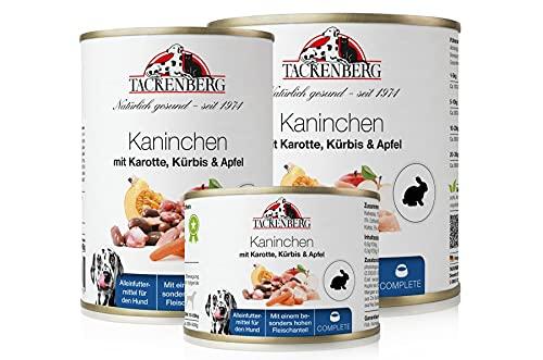 Tackenberg Hundefutter, Nassfutter Hunde (Kaninchen + Karotte, Kürbis + Apfel), Premium Dosenfutter 6 x 800 g