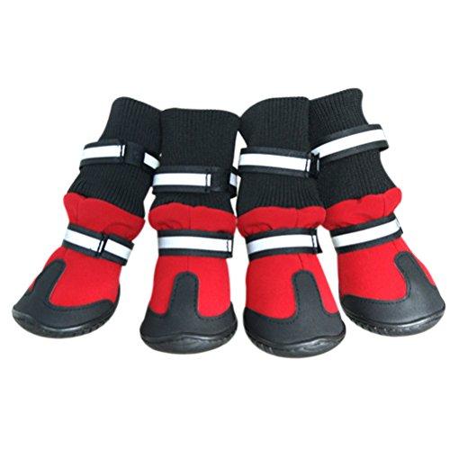 UEETEK Anti-Rutsch-Haustier-Schnee-Aufladungen schützende Schuhe Hund-Regen-Beuten Größe M (rot)