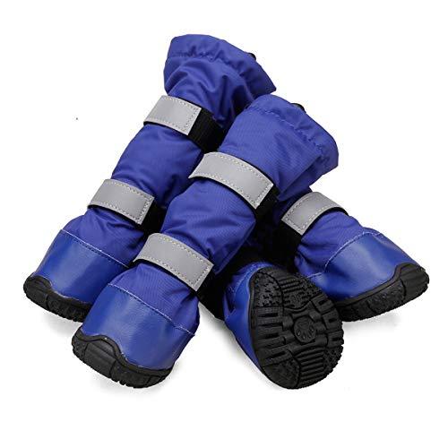 TFENG Hundeschuhe, Warme wasserdicht mit Anti-rutsch Sole, Gummi Pfotenschutz für mittlere und große Hunde