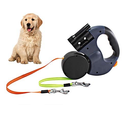 Gobesty Doppelte Einziehbare Hundeleine, 3M Flexible Einziehbare Hundeleine Doppelleine fur Zwei Hunde mit LED Licht und Müllbox für Zwei Hunde zum Spazierengehen Trainieren(88 lbs)