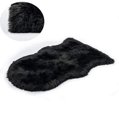 KAIHONG Faux Lammfell Schaffell Teppich (50 x 80 cm) Lammfellimitat Teppich Longhair Fell Optik Nachahmung Wolle Bettvorleger Sofa Matte (Schwarz, 50x80cm)