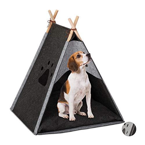 Relaxdays Hundezelt, großes Haustiertipi für Hunde & Katzen, Filz & Holz, mit Kissen, 70,5 x 59,5 x 59 cm, dunkelgrau, 1 Stück