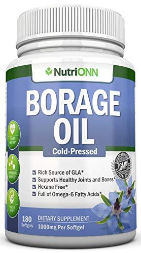 Borretschöl - 1000 mg - 180 Kapseln - Kaltgepresstes Borretschsamenöl - Hexan und PA frei - Ideal für Haut und Gelenke. Unterstützt hormonelles Gleichgewicht und Herzgesundheit