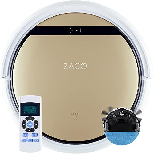 ZACO V5sPro Saugroboter mit Wischfunktion, automatischer Staubsauger Roboter, 2in1 nass Wischen bis zu 180qm oder Staubsaugen, für Hartböden, Fallschutz, beutellos, mit Ladestation, 22W,300ml,Gold