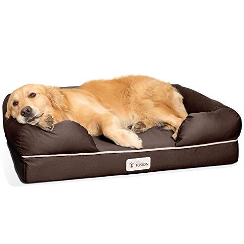PetFusion Ultimate Solid 4 'Memory Foam Hunde/katze bett für mittlere und große HUnde/Katze (36 x 28 x 9' orthopädische Sofa-Couch; braun). Ersatzabdeckungen und Decken sind ebenfalls erhältlich
