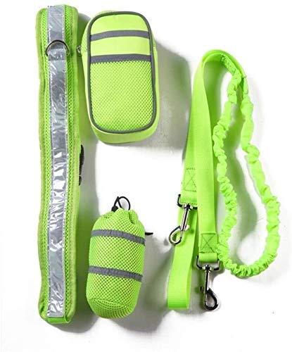 YYhkeby Pet elastischer Gürtel Laufhundeleine Set Hands Free Hundeleine Kragen-Haustier-Zubehör-Welpen-Hundegeschirr Leine for Tiere-Green_M Jialele (Color : Green, Size : M)