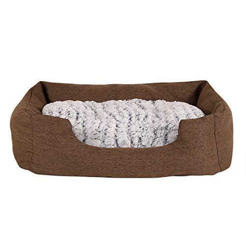 dibea Hundebett Hundekissen Hundekörbchen mit Wendekissen meliert Größe (M) 80x60 cm Braun