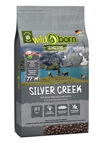 Wildborn Silver Creek getreidefreies Hundefutter mit Ziegenfleisch & Süßkartoffel | sensitives Futter für Hunde ohne Zusatzstoffe Made in Germany
