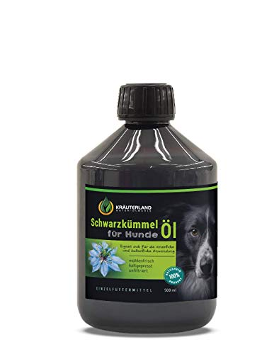 Kräuterland - Schwarzkümmelöl für Hunde 500ml - 100% rein, ungefiltert, kaltgepresst - mühlenfrisch direkt vom Hersteller - Fütterung & Fellpflege -