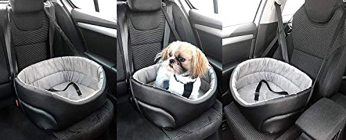 BOUTIQUE ZOO Hunde Autositz Universal Waschbar Abriebfest, Autositz Hund für Vordersitz, Beifahrersitz, Rückbank, Hundebett Hundetasche, L: 56 cm x 48 cm, Braun - Kunstleder: Wildlederimitat