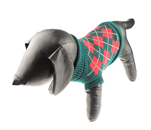 Hunde-Strickpullover mit festlichem Argyle-Karos
