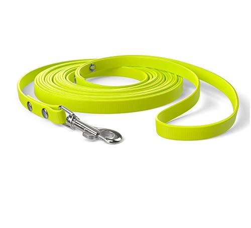 SNOOT 5m Schleppleine, Hundeleine, Handschlaufe, Neon-Gelb, extra schmal, schmutz- und wasserabweisend
