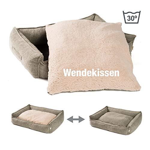 JAMAXX Premium Hundebett Orthopädisch Memory Visco Schaum Waschbar Abnehmbarer Bezug Wasserabweisend - Weiches Sofa Hundekorb Hunde-Körbchen mit Wendekissen / PDB2004 (XL) 150x105 Sand