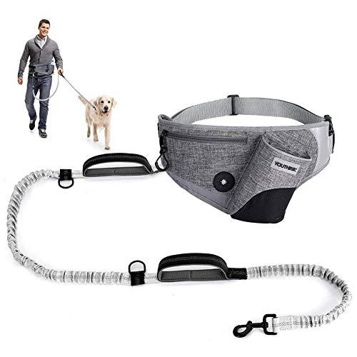 YOUTHINK Joggingleine mit verstellbarem Bauchgurt, für große und mittelgroße Hunde   Jogging Hundeleine stoßdämpfende Bungee-Leine bis 180 Pfund mit Wasserflaschenhalter