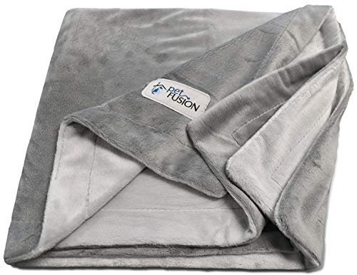 PetFusion Premium X-Large Hundedecke (60x48). Reversible Grey Micro Plush. [100% Polyester weich]