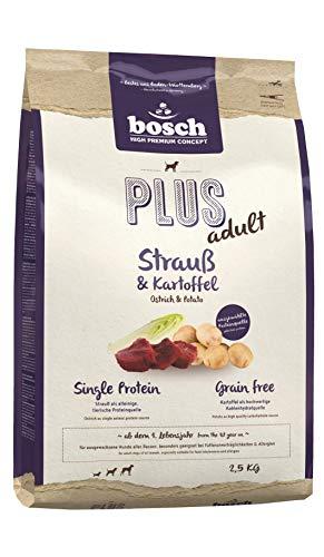 bosch HPC PLUS Strauß & Kartoffel | Hundetrockenfutter für ausgewachsene Hunde aller Rassen | Single Protein | Grain-Free | 1 x 2.5 kg