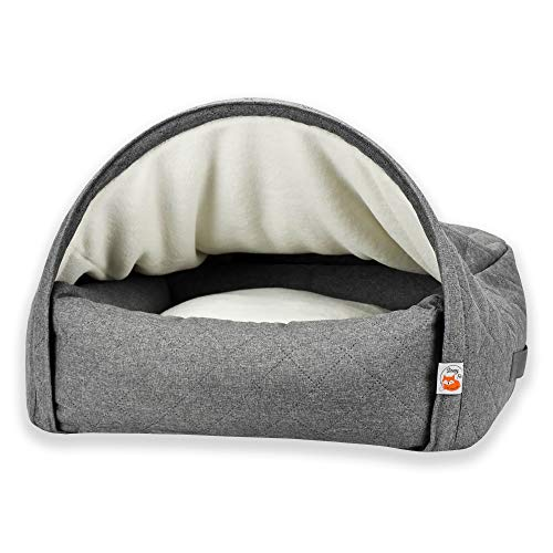 Sleepy Fox Snuggle Cave - Premium Dog Bed - Quilted Grey Fabric - Size Large