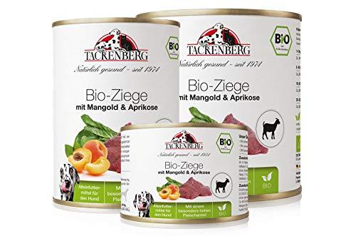 Tackenberg Hundefutter, Nassfutter Hunde, 100% Bio Ziege mit Mangold & Aprikose, Premium Dosenfutter ab 6 x 200g