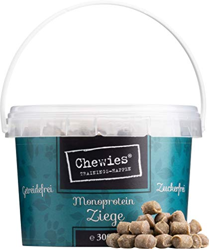 Chewies Trainingshappen Ziege - Monoprotein Snack für Hunde - 8 x 300 g XXL Pack- getreidefrei & zuckerfrei - Softe Leckerlies fürs Hundetraining - hypoallergen (2,4 kg)