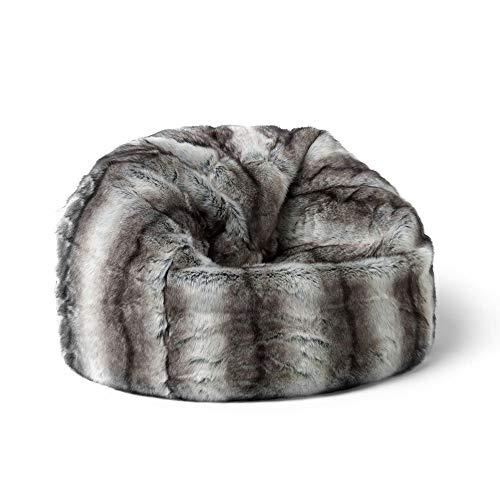 """Icon Sitzsack aus Kunstpelz """"Alpine"""" für Kinder, Bayerischer Wolf Grau, Sitzsäcke für Kinder, 65cm x 45cm, Groß, Sitzsäcke für das Wohnzimmer, Schlafzimmer, Kunstpelz"""