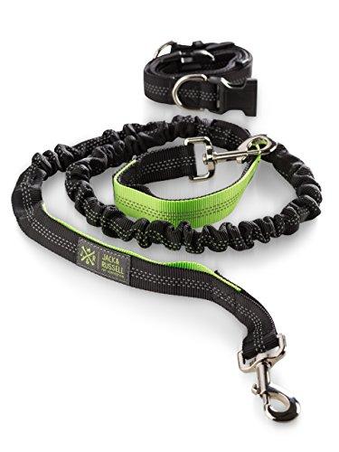Jack & Russell Hunde Joggingleine mit Hüftgurt - schwarz-neongrün Hunde Leine elastisch 1,5 m - 2,0 m (Schwarz/Neongrün)