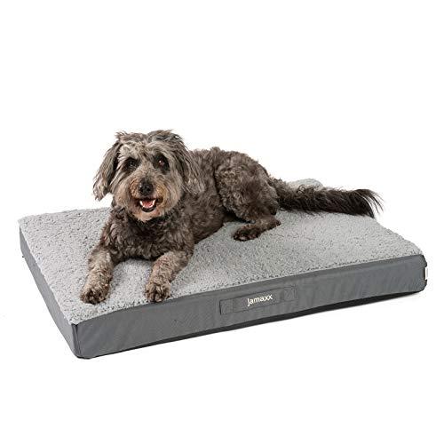 JAMAXX Orthopädische Hunde-Matratze Gelenkschonend Memory Visco Schaum Waschbar Abnehmbarer Lammfell Bezug/Wasserabweisendes Oxford Gewebe - Robustes Kuschliges Hundebett PDB1012, 90x65 (M), Grey