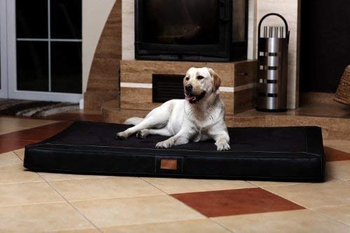 tierlando® Oscar VIP Ortho Hundematratze Kunstleder Velours Orthopädisches Hundebett VISCO Größe: OS6 150cm | Farbe: AL-03 Schwarz
