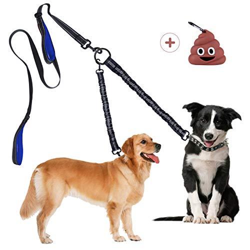 Superboom Doppelleine Doppelte Hundeleine Keine Verwicklung, Abnehmbare Bungee Hund Leine für 1 oder 2 Hunde bis 50kg zum Laufen, Dual Doggie Leash Zwei Gepolsterte Griffe mit Kotbeutelspender