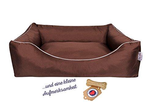 Tante Hilde Hundebett, Hundekorb, Hundekissen Norderney für kleine, mittlere und große Hunde, Waschbar, Robust, Größenauswahl, Hochwertige Qualität! (XXXL 120 x 90 cm, Braun)