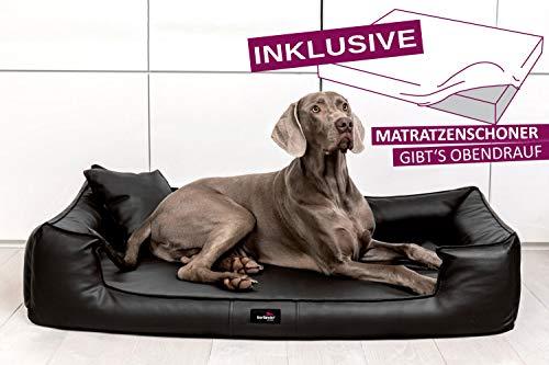 tierlando® Orthopädisches Hundebett Goofy VISCO   ~ inkl. Matratzenschoner ~   Anti-Haar Kunstleder Hundesofa Hundekorb Gr. M 185cm Braun Ortho