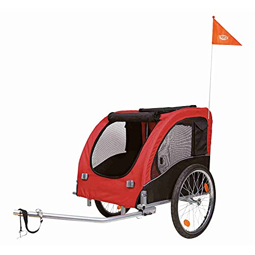 Trixie 12816 Fahrrad-Anhänger, L: 75 × 86 × 80/145 cm, schwarz/rot