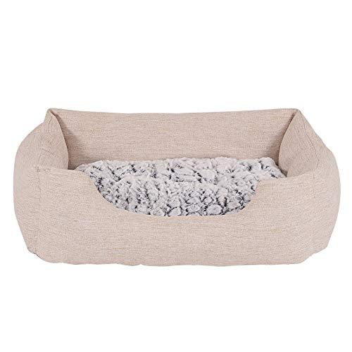 dibea Hundebett Hundekissen Hundekörbchen mit Wendekissen meliert Größe (M) 80x60 cm Beige