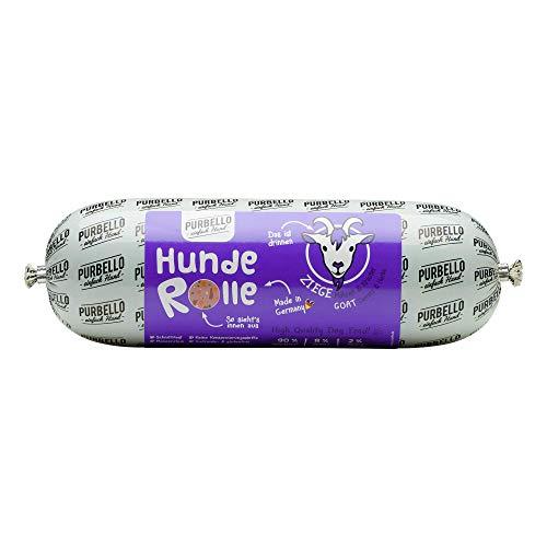 PURBELLO Hunde-Rolle Ziege mit Karotte & Kräutern - Monoprotein Hundefutter mit hohem Fleischanteil - Nassfutter für Hunde - Hundewurst schnittfest & getreidefrei - 8 x 800 g
