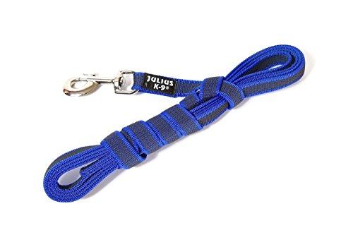 Julius-K9, 216GM-B-S3, Color & Gray gumierte Leine, blau-grau, 20 mm x 3 m mit Schlaufe, max für 50 kg Hunde