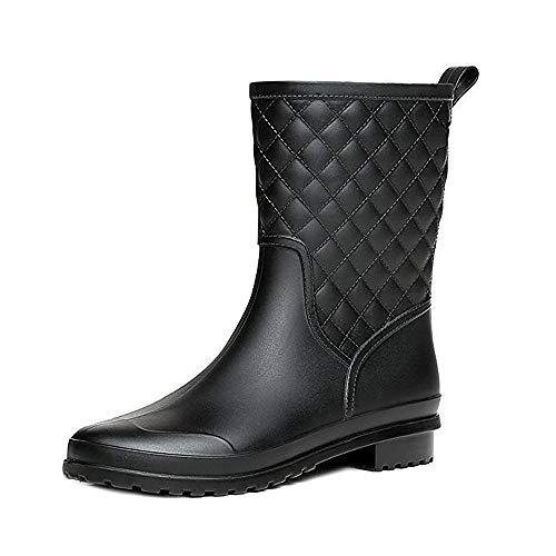 Halbhohe Gummistiefel Damen Kurz Frauen Regenstiefel Stiefeletten Gartenarbeit Mode Outdoor Boots Schwarz 39