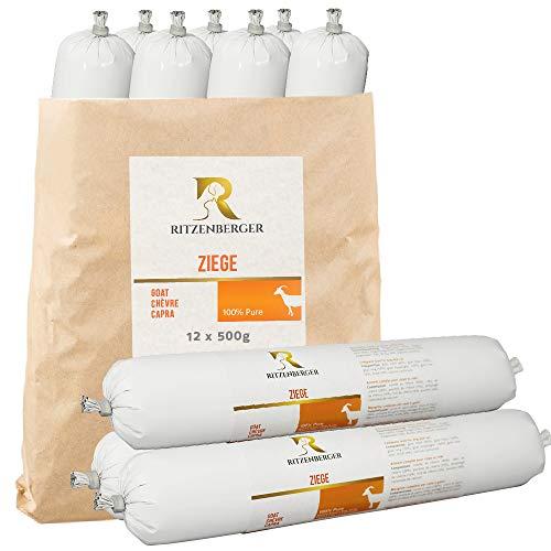 Ritzenberger Ziege Pure Fleischrolle 12 x 500g (6,0kg) | Fleischfutter vom Metzgermeister