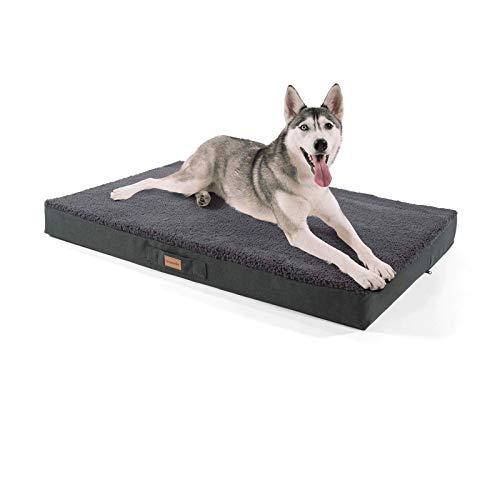 Brunolie Balu Hundebett in Dunkelbraun, waschbar, orthopädisch und rutschfest, kuscheliges Hundekissen mit atmungsaktivem Memory-Schaum, Größe XL (120 x 72 x 10 cm) Grau