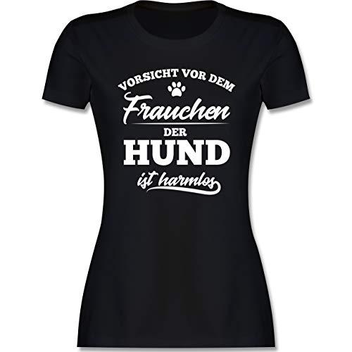 Hunde - Vorsicht vor dem Frauchen der Hund ist harmlos - L - Schwarz - Damen Tshirt hundesprüche - L191 - Tailliertes Tshirt für Damen und Frauen T-Shirt