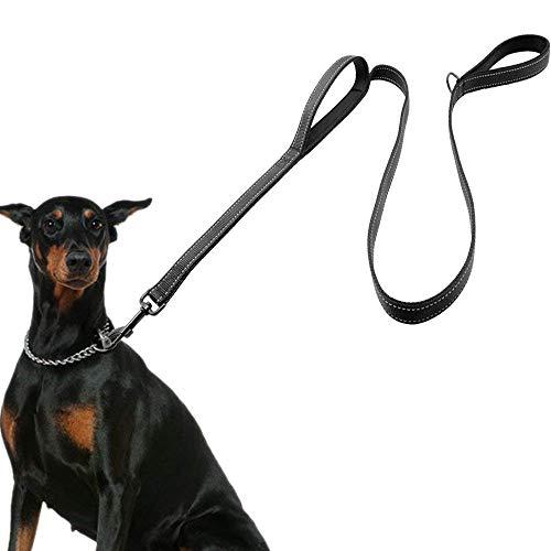AVANA Hundeleine mit integriertem Kurzführer reflektierende Leine 2 handschonende gepolsterte Handschlaufen 1,5 Meter Führleine für große und mittelgroße Hunde - Schwarz