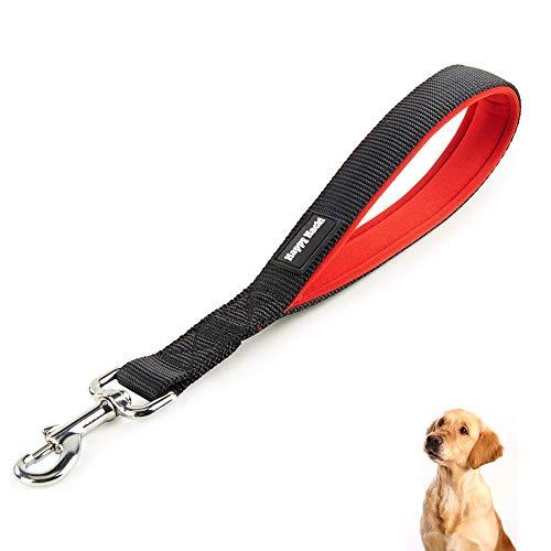PETTOM Kurze Hundeleine Nylon Flexi Joggingleine mit Griff Kurzführer für Große Mittlere und Kleine Hund (Rot/Schwarz)