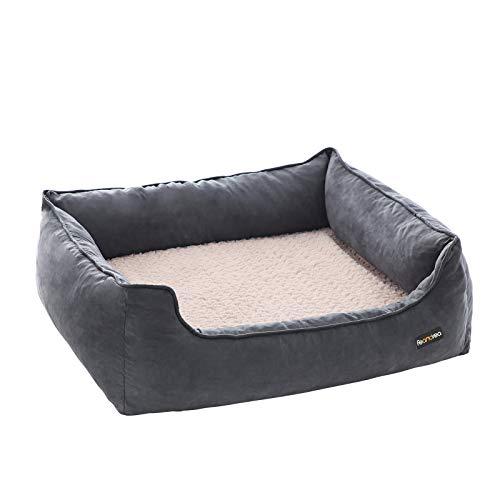 FEANDREA Hundebett für mittelgroße Hunde, orthopädisches Hundesofa, waschbar, grau PGW14GV1