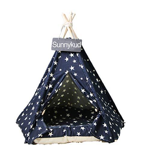 Sunnykud Tipi Zelt für Haustiere Hundezelt Katzenzelt Haustierzelte Häuser mit Kissen Abnehmbar und Waschbar Haustierbett Wegklappen Haustier Zelt Möbel Hundebett Katzenbett
