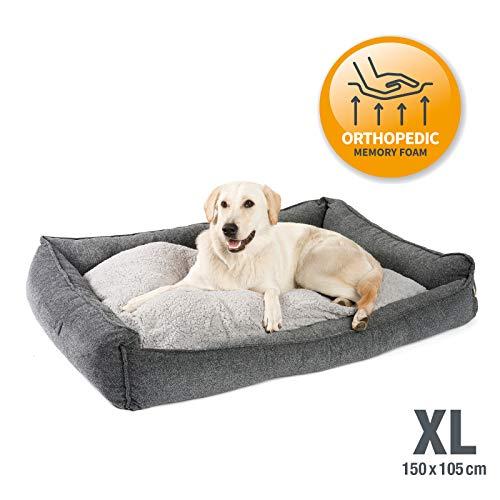 JAMAXX Premium Hundebett Orthopädisch Memory Visco Schaum Waschbar Abnehmbarer Bezug Wasserabweisend - Weiches Sofa Hundekorb Hunde-Körbchen mit Wendekissen / PDB2004 S-XL (150x105 (XL), grau