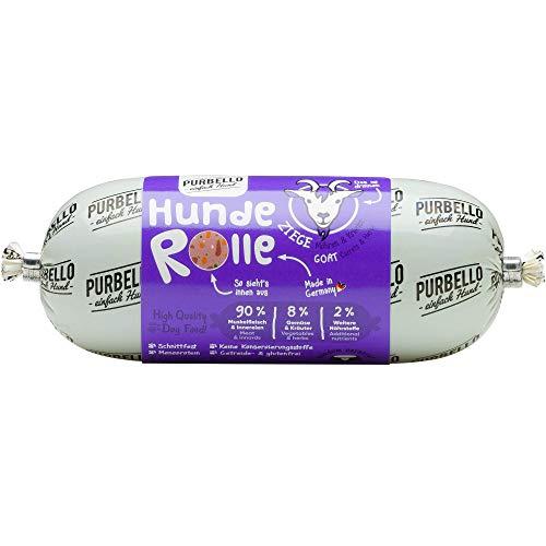 PURBELLO Hunde-Rolle Ziege mit Karotte & Kräutern - Monoprotein Hundefutter mit hohem Fleischanteil - Nassfutter für Hunde - Hundewurst schnittfest & getreidefrei - 8 x 200 g